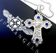 14k White Gold Designer Large Cross Pendant With Blue Sapphires By Sacred Angels