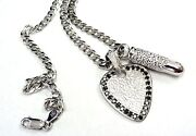 Silver Guitar Pick W/ Black Diamonds And Bullet Diamond Pendant By Sacred Angels