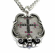 Designer Cross Pendant With Black Daimonds And Rubies By Sacred Angels