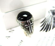 Menand039s Silver Cross Ring With Black Diamonds By Sacred Angels