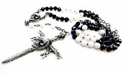 Silver Skull Sword Cross Pendant With Black Diamonds Rosary By Sacred Angels