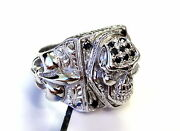 Menand039s Silver Skull Fleur De Lis Ring With Black And White Diamonds