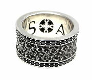 Sterling Silver Eternity Double Row Black Diamond Wedding Band By Sacred Angels