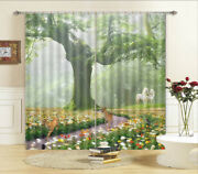 White Horse Template 3d Curtains Blockout Photo Printing Curtains Drape Fabric