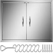 """30"""" Bbq Double Access Door Outdoor Kitchen Fireplace Stainless Concealed Hinges"""