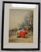 Antique Fine Watercolor Painting Cardinal At Rest Alfred Weber Cardinal Sin