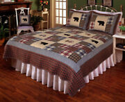 3pc Smokey Mountain Bear Patchwork California King Bed Quilt Set/bedding Package
