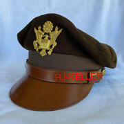 Ww2 Us Army Aircorps Military Officers Pilots Od Visor Crusher Hat Cap