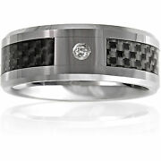 Band Ring Menand039s 8mm Tungsten Carbide Black Carbon Fiber And Diamond Wedding 7-14