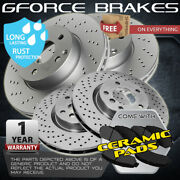 F+r Cross Drilled Rotors And Ceramic Pads For 2005-2008 Land Rover Lr3 4.0l Engine