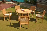 A-grade Teak 6pc Dining 48 Round Butterfly Table 5 Leveb Stacking Arm Chair Set