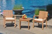 A-grade Teak 3pc Dining Sack Side Table 2 Leveb Stacking Arm Chair Set Outdoor