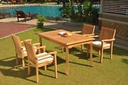 A-grade Teak 5pc Dining 60 Rectangle Table 4 Leveb Stacking Arm Chair Set Patio