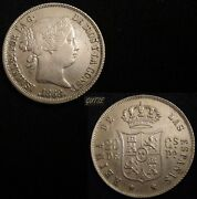 Spain 617-isabel Ii 20 Centavos Peso 1868 Philippines Silver Uncirculated