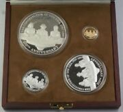 Mexico Commem Set For Us Constitution 1/4 Oz Gold 12 5 And 1 Oz Silver Coins
