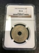 1935 20 Mils Ngc Ms64 Coin Palestine - Israel - Top Grade Rare
