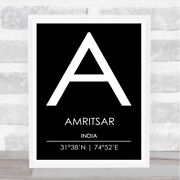 Amritsar India Coordinates Black And White World City Travel Quote Poster Print