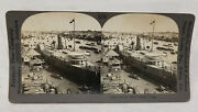 Antique Vintage Stereoview Photograph Boats On Canton River China Keystone