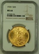 1924 Us St. Gaudens 20 Double Eagle Gold Coin Ngc Ms-64 A