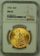 1926 Us St. Gaudens Double Eagle 20 Gold Coin Ngc Ms-62 Better