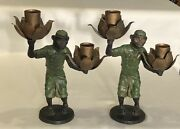 """Pair Unique 12"""" Tall Cast Iron + Metal Asian Monkey Candle Holders Candelabras"""