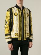 Versace Limited Edition Baroque Quilted Bomber Jacket Gold Size 52