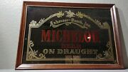 Vintage Anheuser-busch Michelob Beer On Draught Framed Mirror Sign 18x26