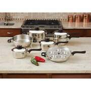 Worldand039s Finest 7-ply Steam Control 17pc T304 Stainless Steel Cookware Set