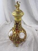 Antique French Cameo Cranberry Gold Gilded Perfume Bottle