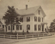 Family Outside Grand Wood Frame House. Child On Fence Post. Stereoview, Mass.