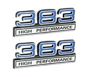 383 High Performance 6.2l Engine Emblems Badges In Chrome And Blue - 4 Long Pair