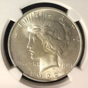 1922 Curved Clip @5.30 Error Ngc Ms 64 Peace Silver Dollarlegacy Collection