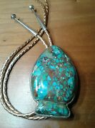 Small Bear Ponca Tribe Bolo Tie Arrow Head Shaped Mosaic Turquoise On Sterling