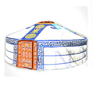 Mongolian Yurt Blue Canvas Cover With Hammer Pattern Water Resistant