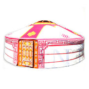 Mongolian Yurt Red Canvas Cover With Ulzii Pattern Water Resistant