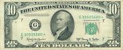 1950 Series E G/ Star Chicago 10 Dollar Frn Bill Us Currency