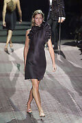 F/w 2000 Vintage Sexy Tom Ford For Black Silk Dress With Ruffles
