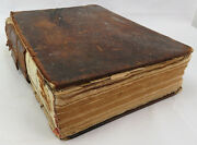 Antique Religious Old Holy Bible Leather Bound Dated 1828 Book 11x9 And 3