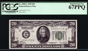 20 1928 Federal Reserve Note Frn San Francisco Pcgs 67 Ppq High Grade Numerical