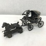 Fine Antique Solid Silver Tested Miniature Horse And Cart Child's Toy A/f Rare