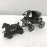 Fine Antique Solid Silver Tested Miniature Horse And Cart Childand039s Toy A/f Rare