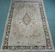 Semi-antique Turkish Oushak Rug Hand Knotted Wool Pale 6.4x10 15703 Mid 20thc