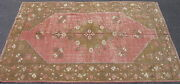 Antique Turkish Oushak Rug Hand Knotted Wool Ca.1920 Turkey Pink 5x7.10 7242