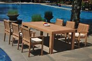 A-grade Teak 7pc Dining 86 Canberra Rectangle Table Leveb Stacking Arm Chair Set