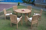 A-grade Teak 7pc Dining 52 Round Table 6 Wave Stacking Arm Chair Set Outdoor