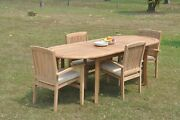 A-grade Teak 5pc Dining 94 Oval Table 4 Wave Stacking Arm Chair Set Outdoor