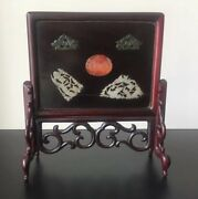 Chinese Hardwood Table Screen With Antique Jade And Carnelian Inlay