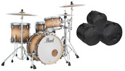 Pearl Masters Complete 20/12/14 Satin Natural Burst Drums +bags Prices Go Up 7/1
