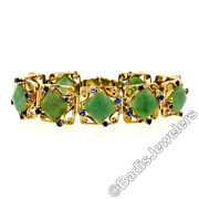 Vintage 14k Yellow Gold Cushion Cabochon Jade And 2.20ctw Sapphire Chain Bracelet