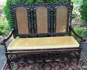 Antique 19th Century Jacobean Carved Twisted Oak Wood Cane Loveseat Bench